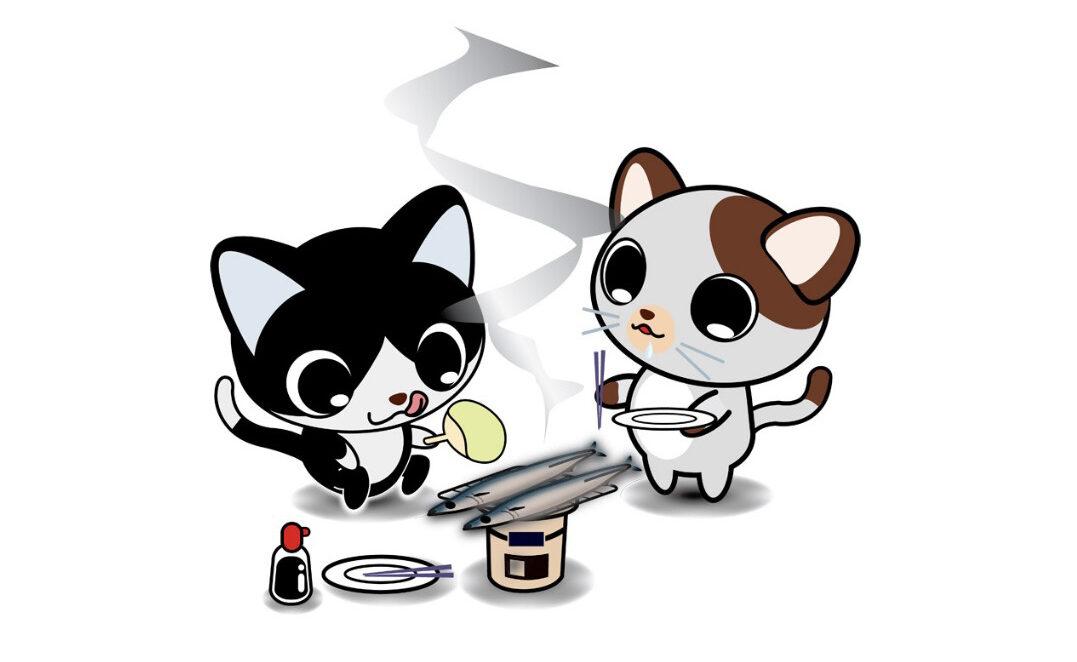 猫が焼き魚を作っているイメージ